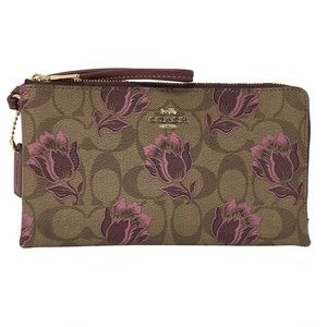 DOUBLE ZIP WALLET IN SIGNATURE CANVAS COACH F78116